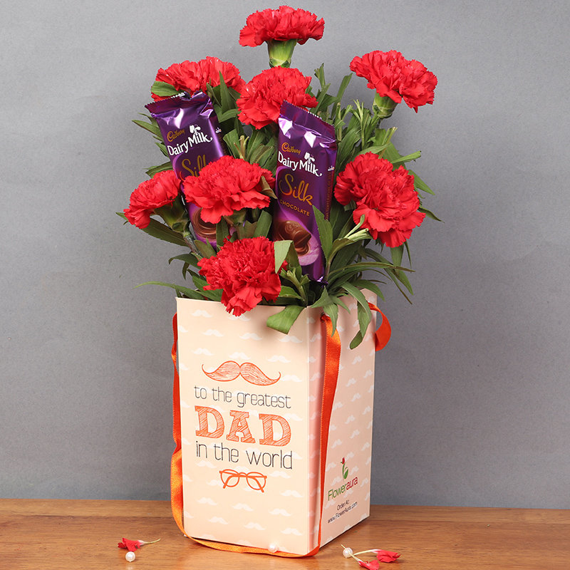 Bunch of Carnarions and Chocolate in Flower Box for Dad