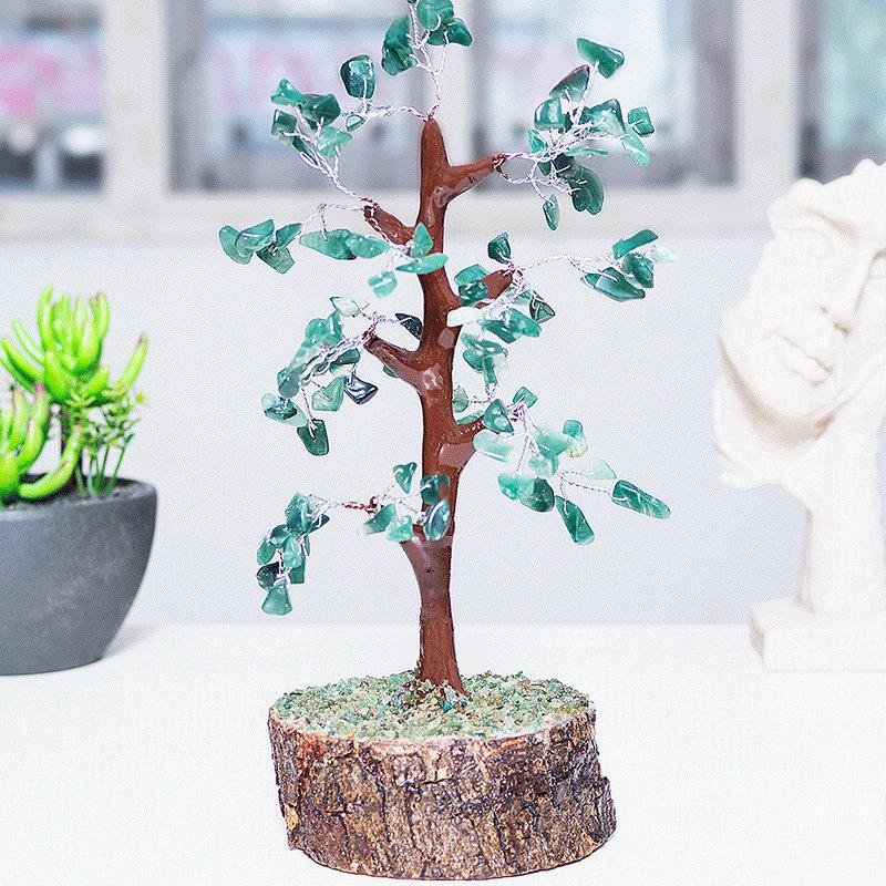 Green Agate Wish Tree - Green Agete Wooden wishing tree