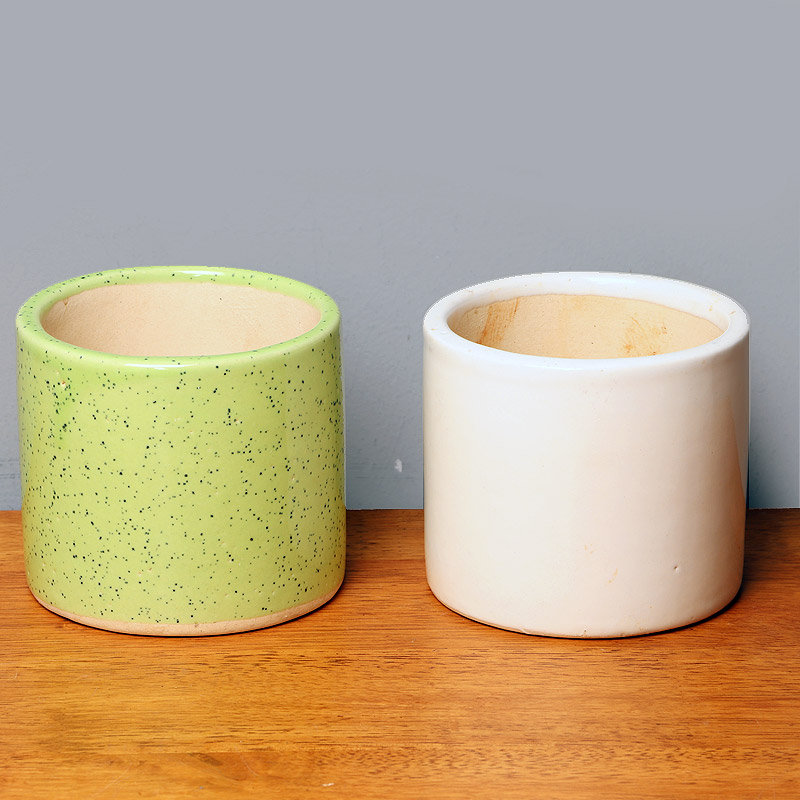 Green and White Vases