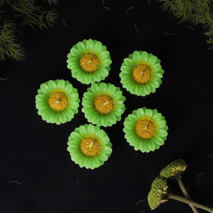 Green Flower Candles - Diwali Gift