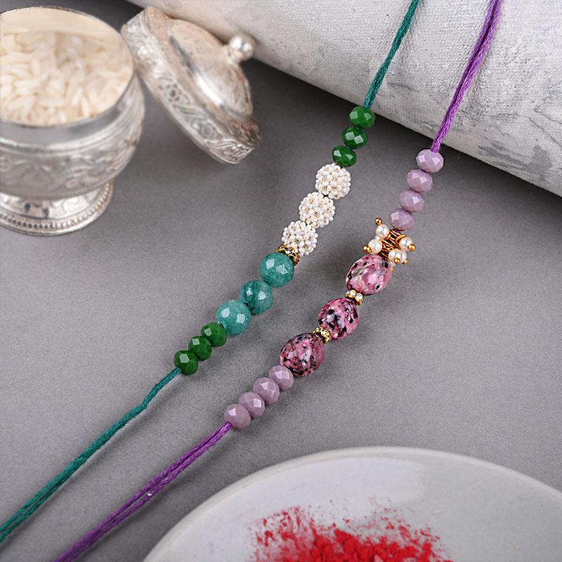 Green N Purple Beads Rakhi Set - Set of 2 Designer Rakhi