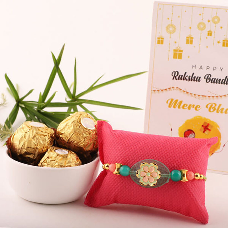Green Pebble Rocher Rakhi
