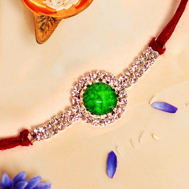 Gripping Green Designer Rakhi - One Stone Rakhi with Roli Chawal
