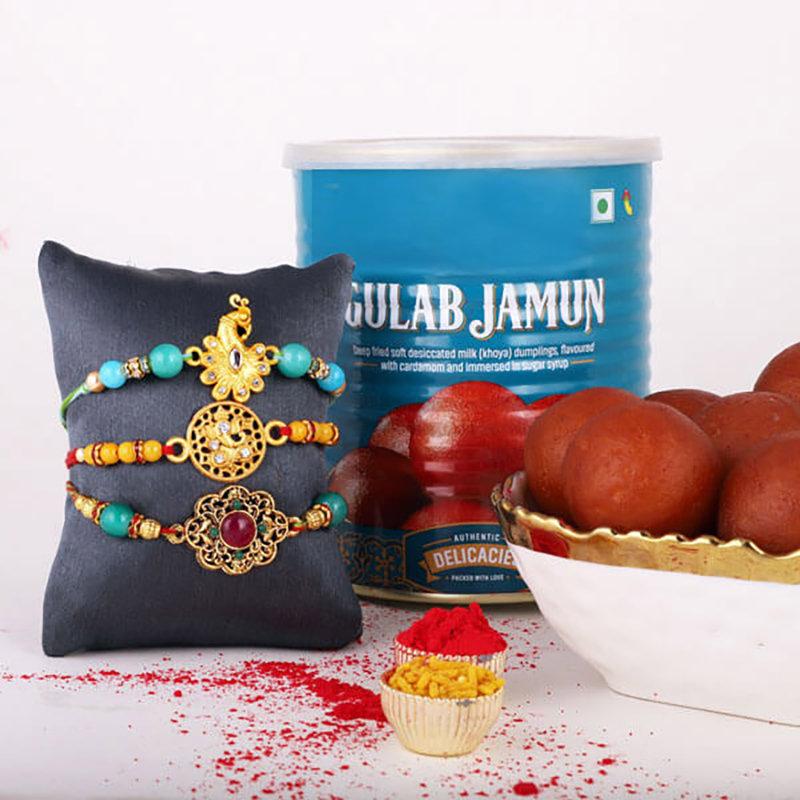 Gulab Jamun N Traditional Rakhi