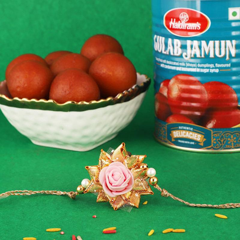 Gulab Jamun Rose Rakhi