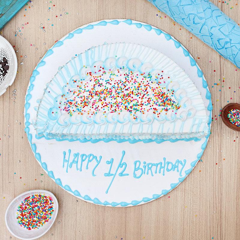 Top view of Half Birthday Cake