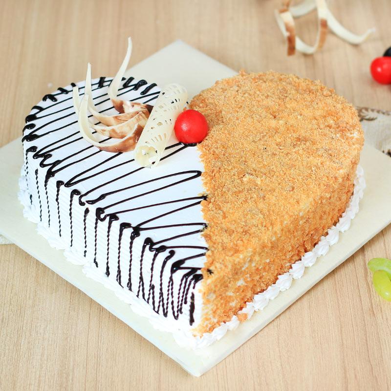 Heart Shaped Chocolate Butterscotch Cake