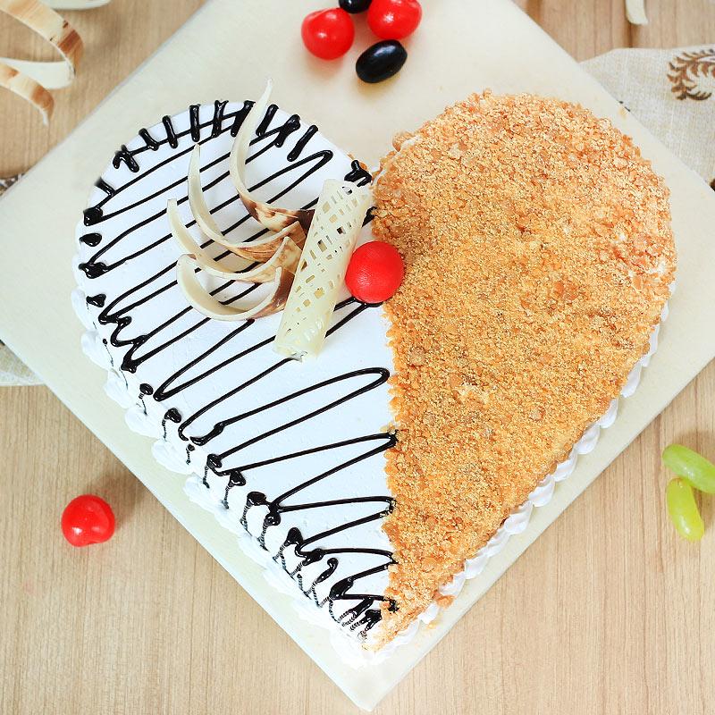 Heart Shaped Chocolate Butterscotch Cake - Top View