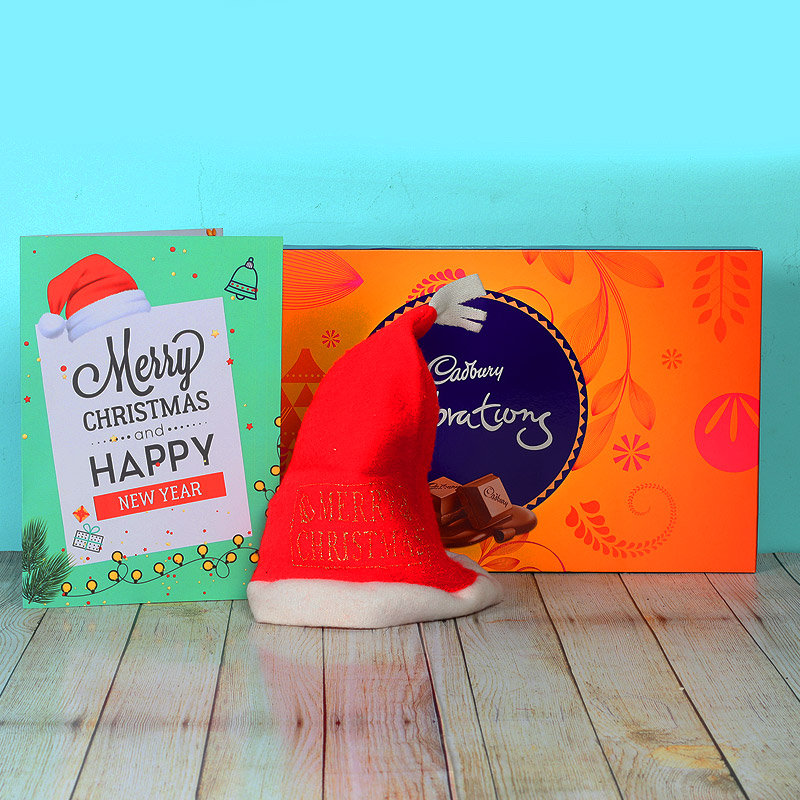 Santa Cap with Chocolates & Christmas Card