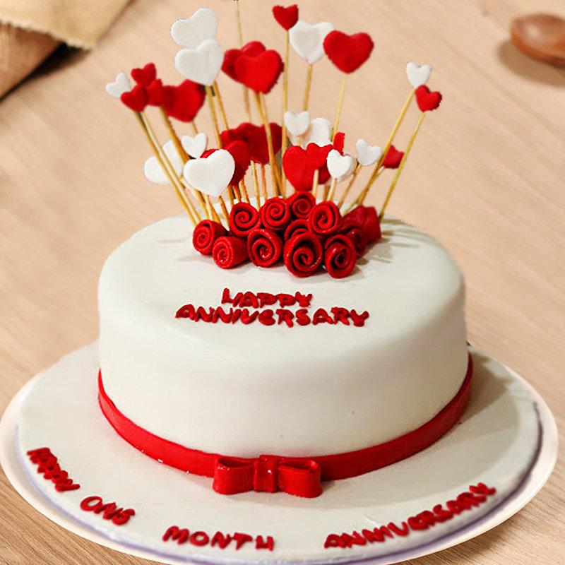 Happy Anniversary Fondant Cake