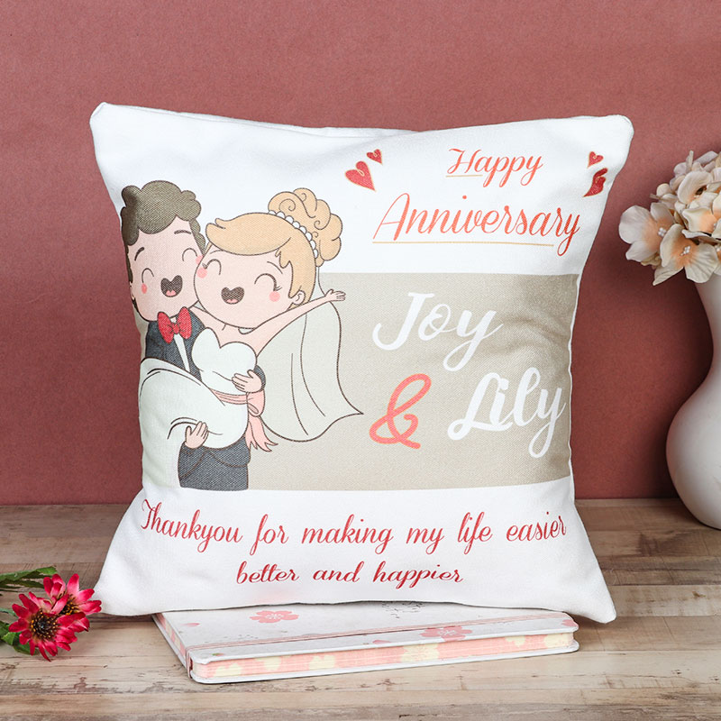 Happy Anniversary Personalised Cushion Gift
