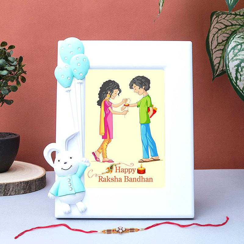 Happy Hearty Rakhi Frame Combo