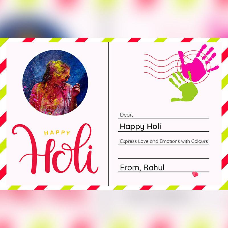Happy Holi Customised Postcard