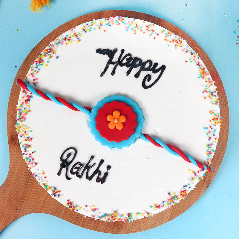 Vanilla Rudraksha Rakhi Cake Combo