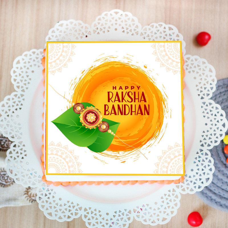 Rudraksha Rakhi Poster Cake Combo