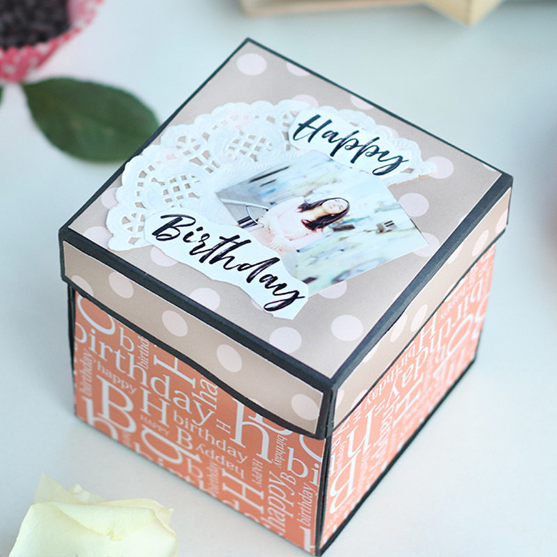 Personalised Happy Birthday Explosion Box with 3 Layers - The Best Gift for Girlfriend