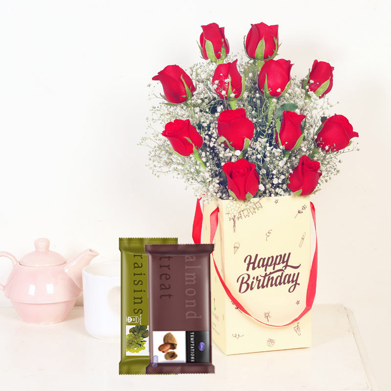 Hbd Red Roses N Temptations Combo - Bunch of 12 Red Roses with Birthday Flower Box and 2 Cadbury Temptations
