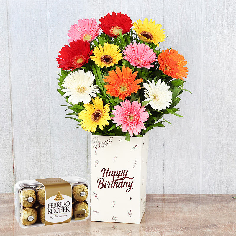 Hbd Rocher N Mix Gerberas Combo - Bunch of 12 Mixed Gerberas with Birthday Flower Box and Pack of 16 Ferrero Rochers