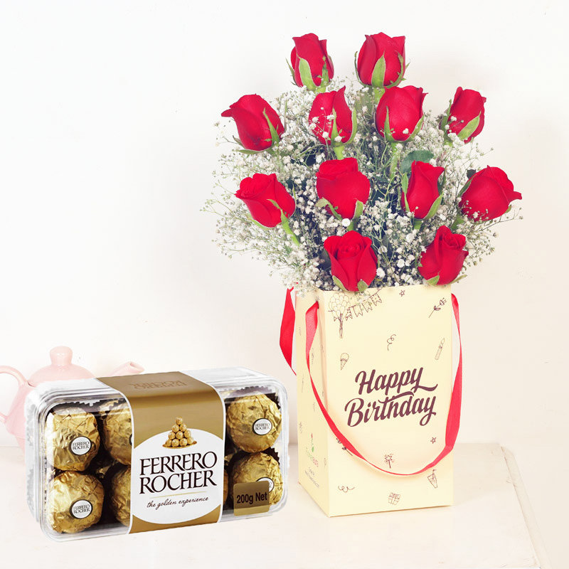 Hbd Roses N Ferrero Rocher Combo - Bunch of 12 Red Roses with Birthday Flower Box and Pack of 16 Ferrero Rochers