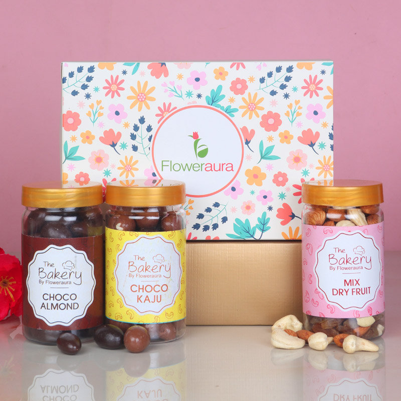 Combo of Mixed Dry Fruits with Choco Cashews and Choco Almonds in FlowerAura Signature Box