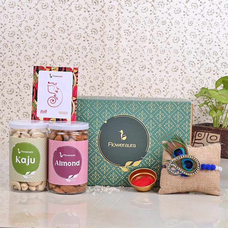 Healthylicious Rakhi Signature Box - One Peacock Designer Rakhi