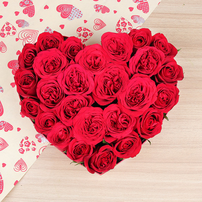 25 heart shaped red roses arrangement - 1st gift of Heart Prowess
