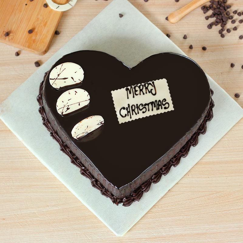 Chocolate Heart Shaped Christmas Cake - Top View