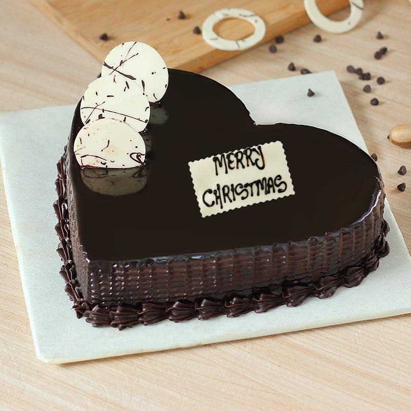 Chocolate Heart Shaped Christmas Cake - Zoom View