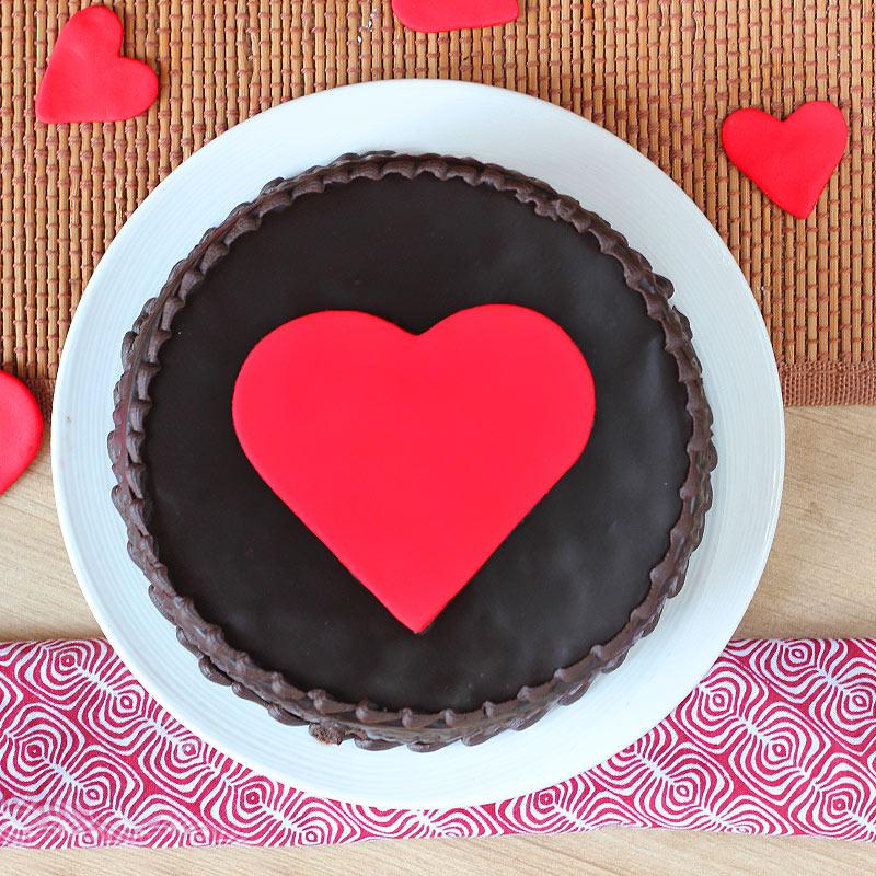 Choco Truffle Anniversary Heart Cake - Top View