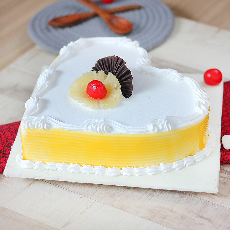 Heart Shaped Pineapple Flavored Cake - Side View