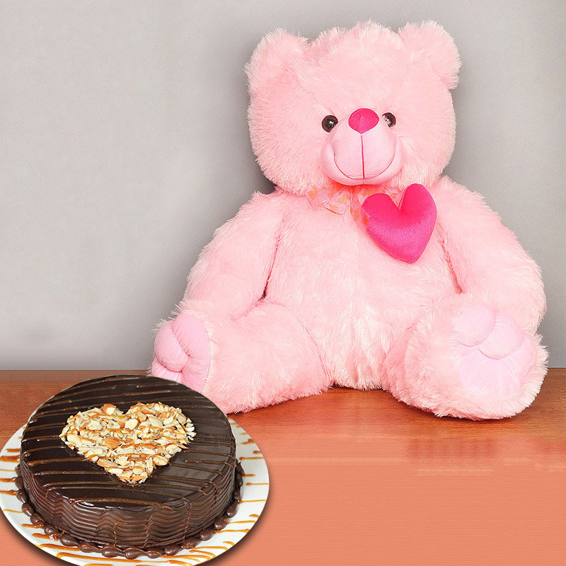 Hearty Fluffy Combo - 22 Inch Teddy with 1 Kg Chocolate Cake