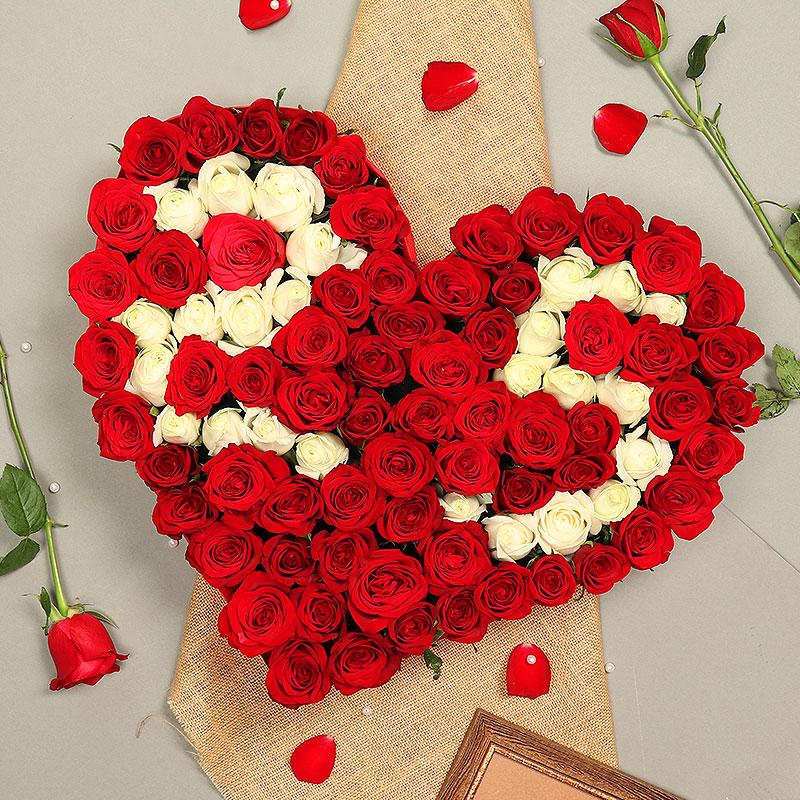 Heart Shaped Arrangement of Mixed Roses