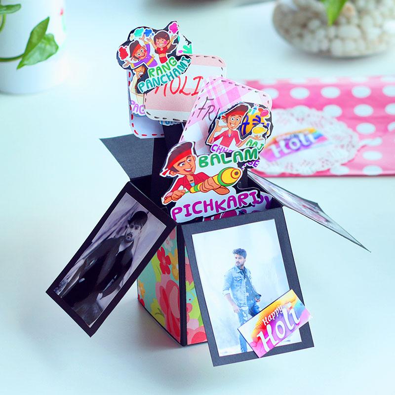 Handmade Holi Explosion Box, POP up Box for Him