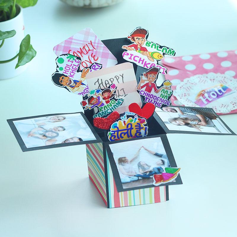 Handmade Holi Explosion Box, POP up Box for Family