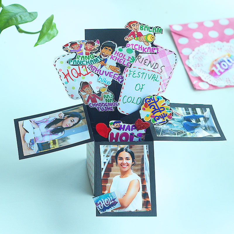 Handmade Holi Explosion Box, POP up Box for Her