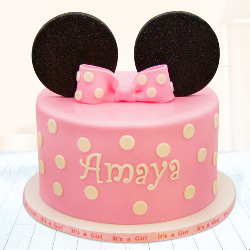 Pink minnie mouse fondant birthday cake for girls