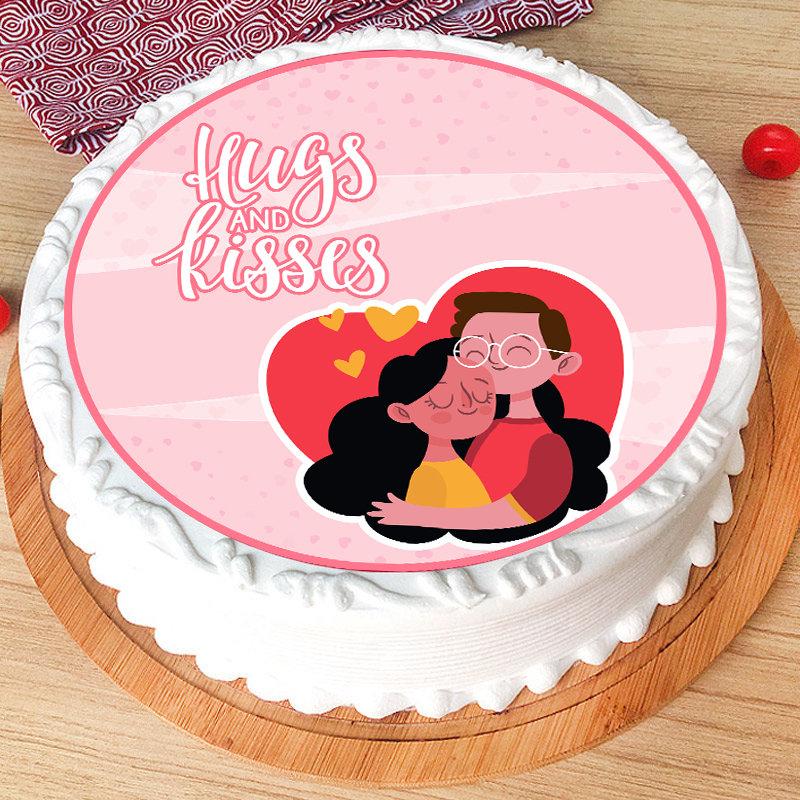 Valentine Special Hugs N Kisses Poster Cake