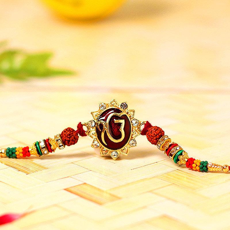 Ik Onkar Rudraksha Rakhi - One Divine Rakhi and Complimentary Roli Chawal