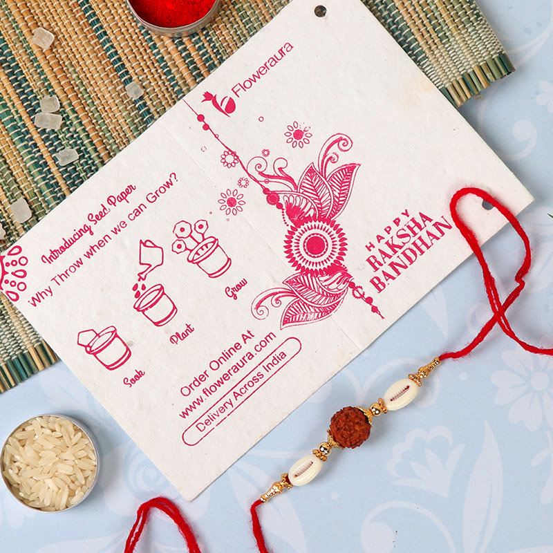 Rakhi Card in Rudraksha Rakhi With Chocolate Box N Jade Plant