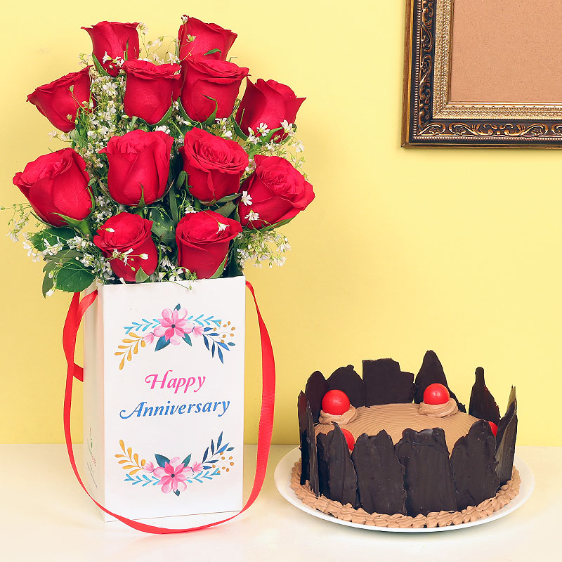 Bunch of Red Roses in a Box with Black Forest Cake Anniversary Combo