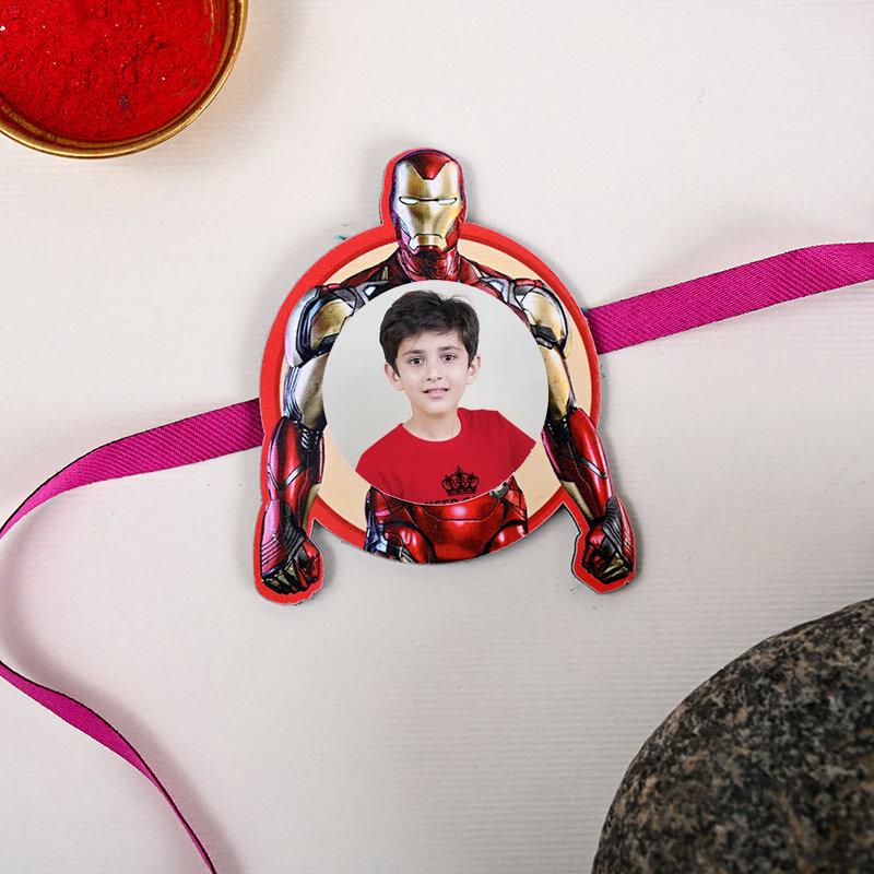 One Superhero Personalised Rakhi - Iron Man Personalised Rakhi