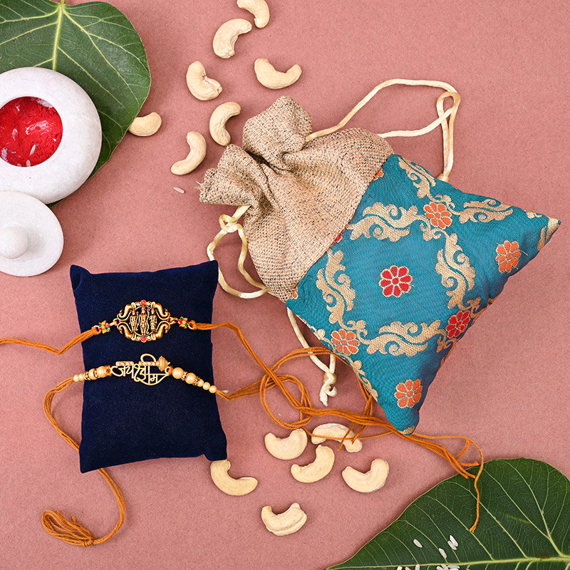 Set of 2 Designer Rakhi - Jai Shree Ram Rakhi Pack