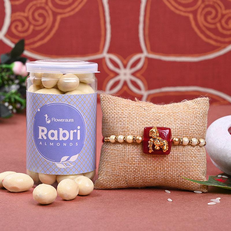Combo of One Designer Kanha Rakhi with Rabhi Almonds