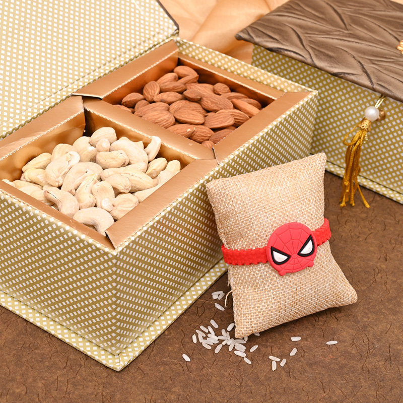 Open View of One Spiderman Rakhi with Premium Box