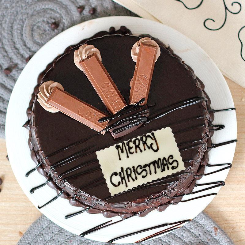 Choco KitKat Christmas Cake - Top View