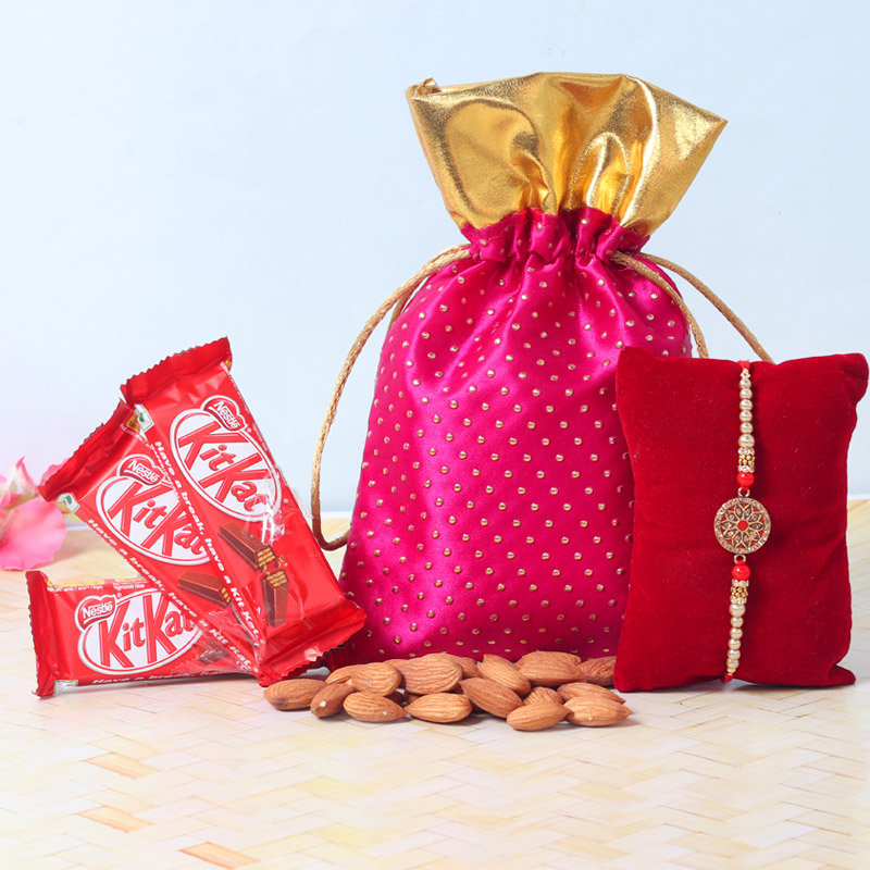 Kitkat Crunchy Rakhi Hamper - One Metal and Diamond Rakhi with Complimentary Roli and Chawal and 100gm Almonds in Pink Potli and 3 Kitkats - 18gm each