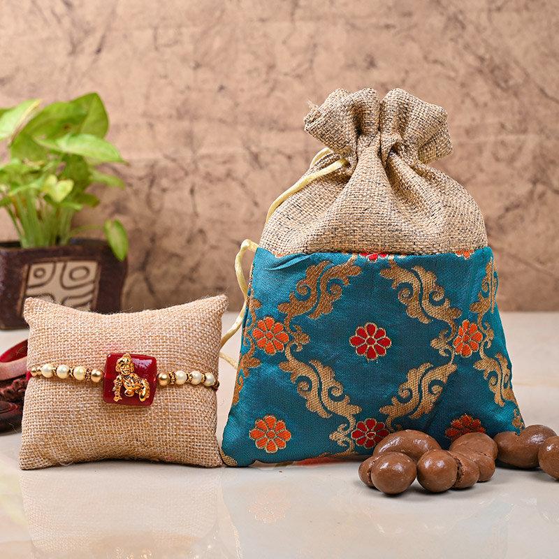 Krishna Rakhi Choco Hamper - Designer Rakhi With Chocolate