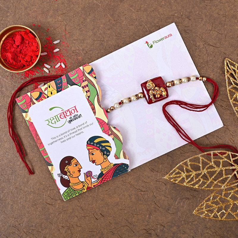 Krishna Rakhi Choco Hamper - Designer Rakhi With Chocolate Rakhi with card  view