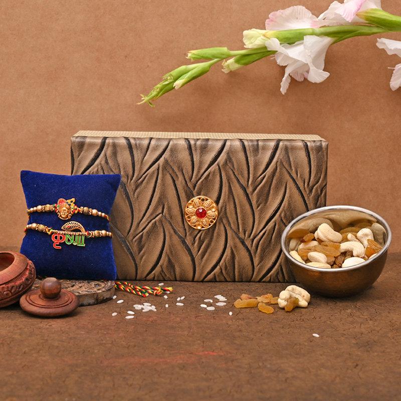 Set of 2 Designer Rakhi Premium Box - Krishna Rakhi Pack