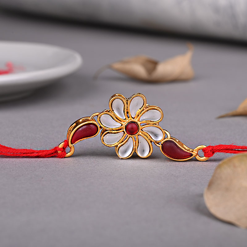 Order Kundan Floral Rakhi N Dodha Online
